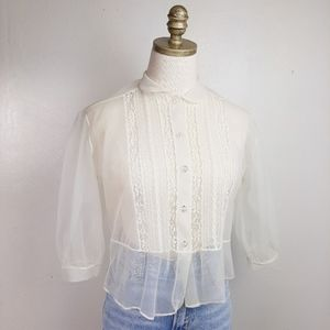 Vintage Sheer Lace Button Up Blouse Puff Sleeves M